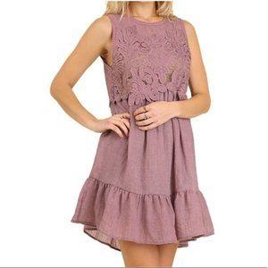 Umgee sleeveless ruffle dress in mauve